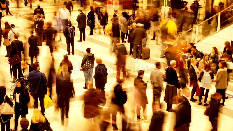 Busy train station during rush hour royalty free stock photos