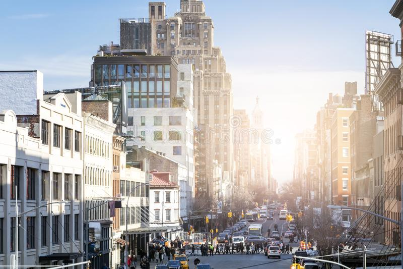 Busy view of 14th Street with crowds of people in Chelsea New York City royalty free stock photos