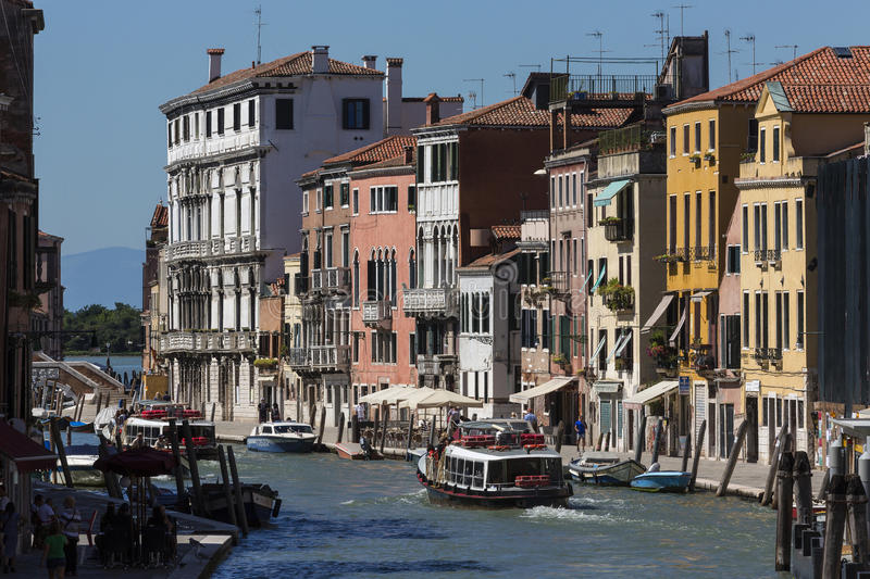 A busy waterway in Venice - Italy. A busy waterway in Venice in northern Italy. Situated on a lagoon of the Adriatic, Built on numerous islands that are stock photos