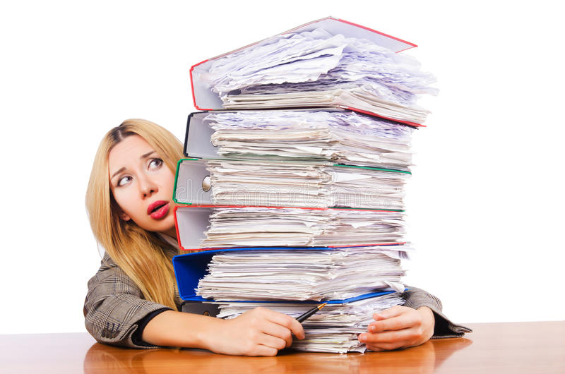 Download Busy woman stock image. Image of binders, adult, business - 28031465