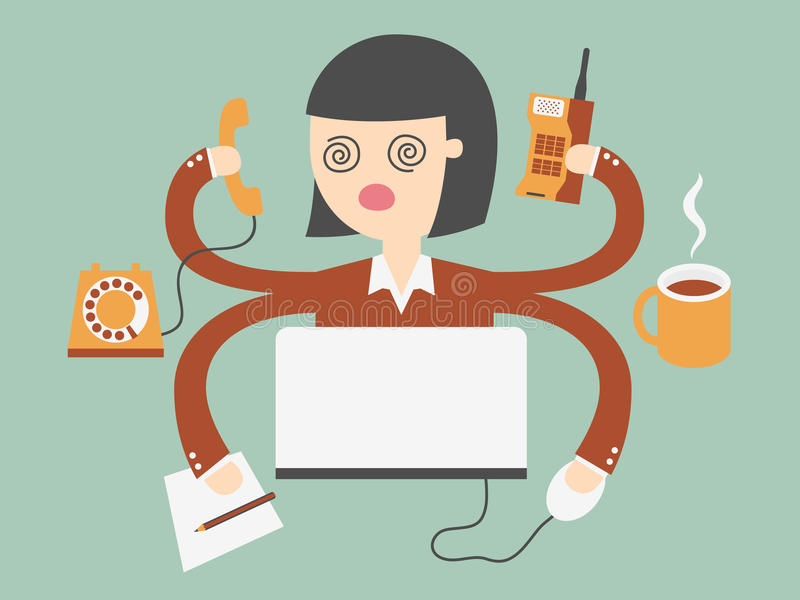 Busy woman royalty free illustration