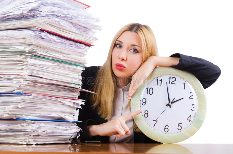 Busy woman with clock. On white stock photos
