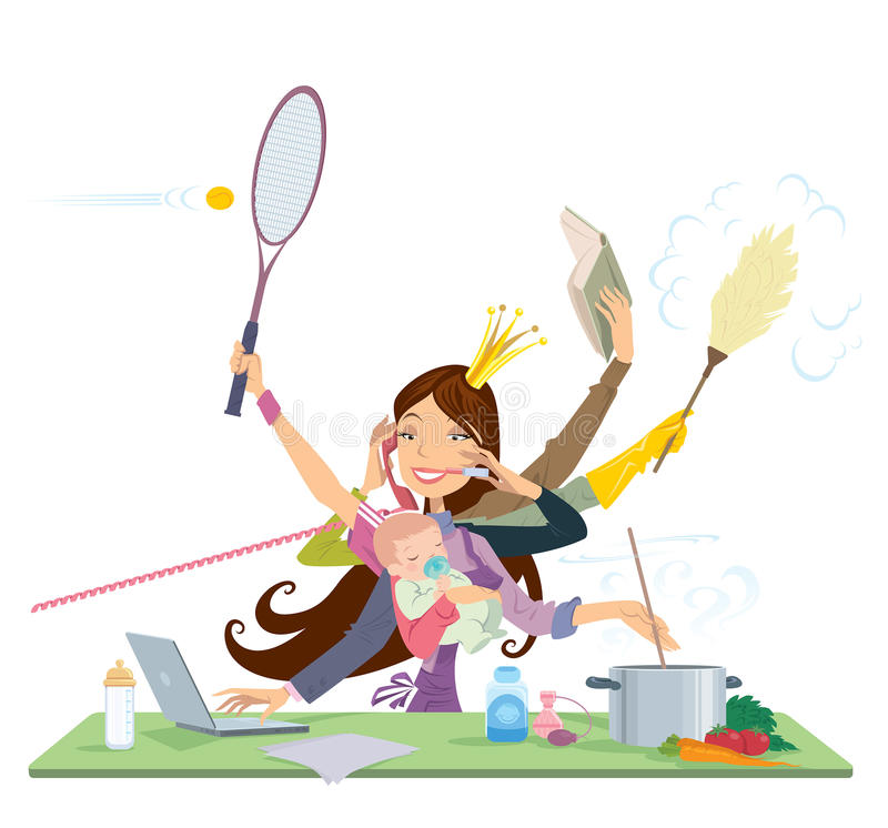 Free Busy Woman Doing Many Things At The Same Time Royalty Free Stock Photography - 34387407