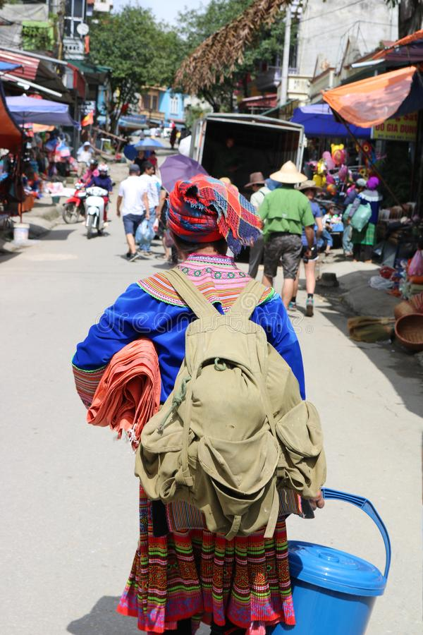Busy woman in Sapa, Vietnam stock image