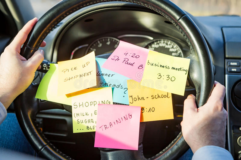 Busy work do post notes list chaotic concept. Busy work do post notes list chaotic stress errands multitask overloaded concept - stock image royalty free stock photo