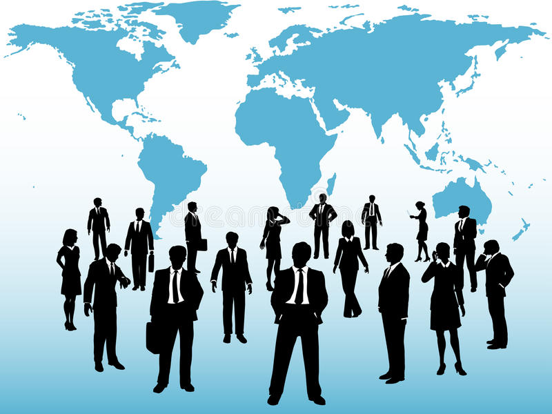 Busy world business people connect under map stock illustration