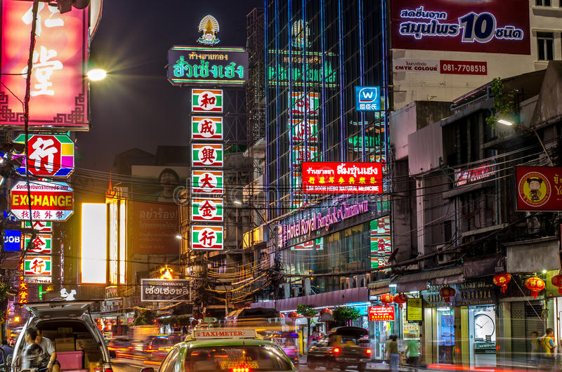 Busy Yaowarat Road in the evening on Dec 10, 2015 in Bangkok. royalty free stock images