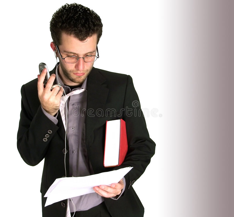 Busy Young Business Man Lookin Royalty Free Stock Images