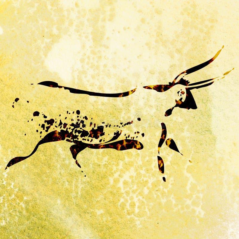 Buszmena San skały obraz byk ilustracja wektor