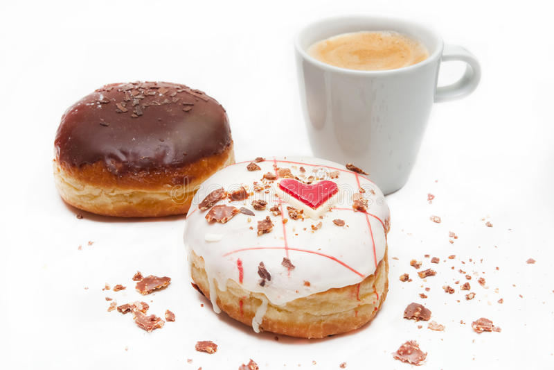 Butées toriques de coeur avec du café image libre de droits