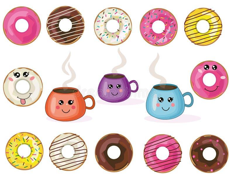 Butées toriques et tasses mignonnes collection, ensemble de kawaii de vecteur illustration stock