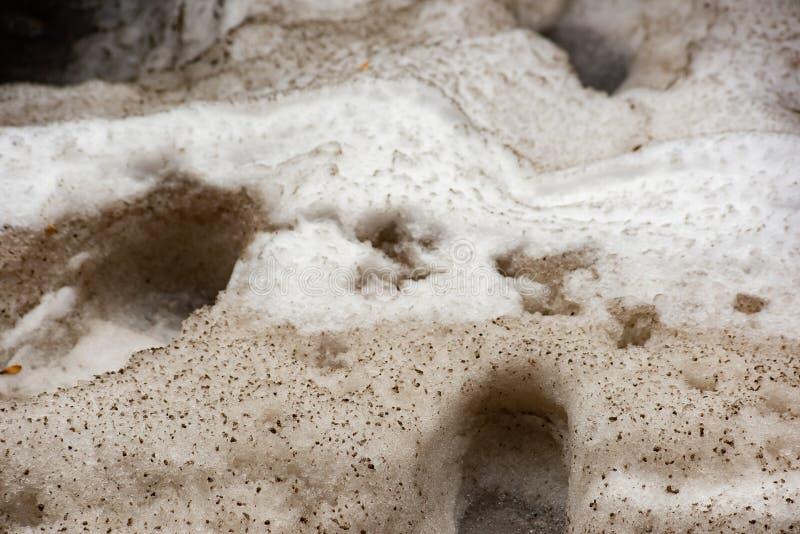 Butów druki na brudnym śniegu obrazy stock
