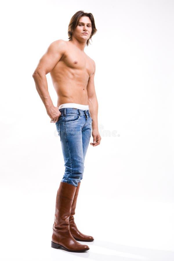 butów mody cajgów mężczyzna strzału potomstwa obraz stock