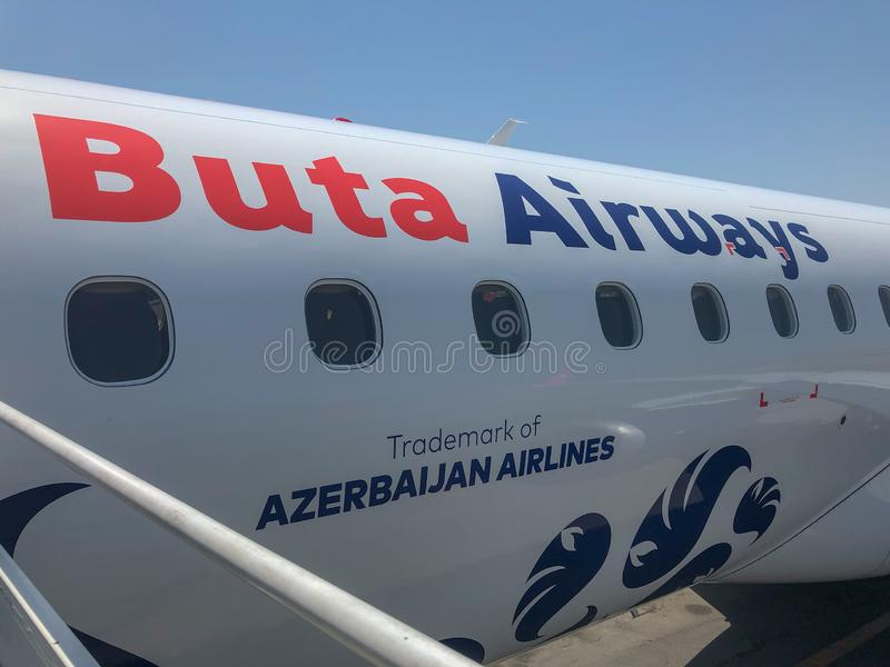 Buta Airways - Azerbaijan. Baku, Azerbaijan - July 14, 2018: Aircraft Embraer ERJ-190 VP-BHH of Buta Airways in Baku, Azerbaijan stock photos