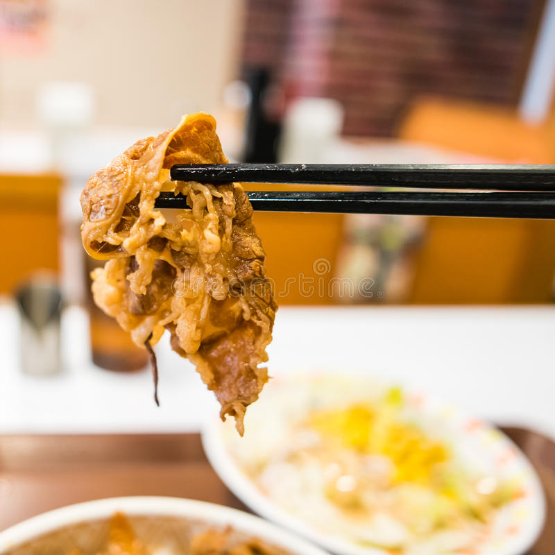 Buta-don. Close up of Buta-don, Japanese style Fried Pork with sweet sauce royalty free stock photography