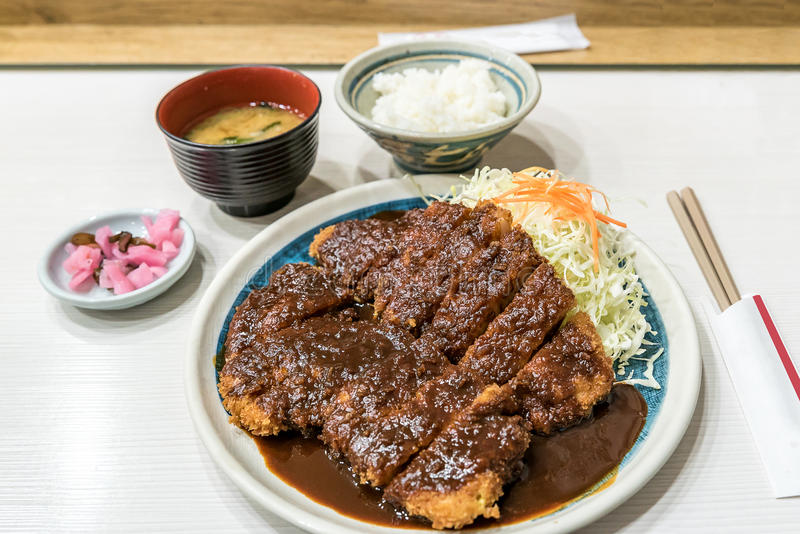 Buta katsu pork cutlet. Japanese food miso buta katsu pork cutlet set with rice royalty free stock image
