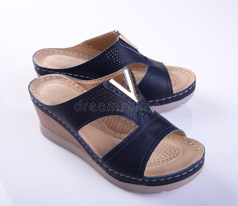 buta lub czerń koloru damy buty na tle zdjęcie stock