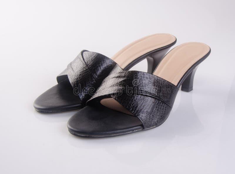 buta lub czerń koloru damy buty na tle zdjęcia stock