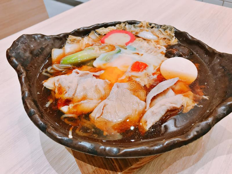 Japanese hot pot with pork. Buta shabu or Japanese hot pot with pork stock image