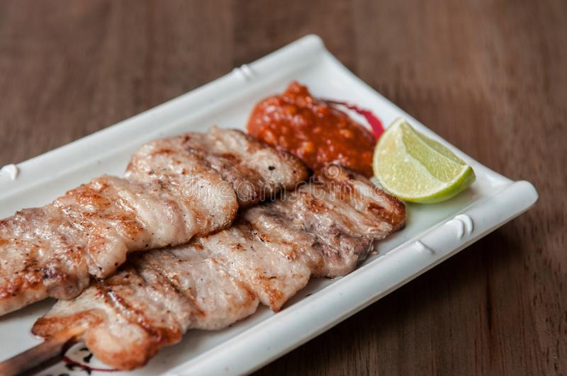 Buta Yaki Japanese barbecue pork skewers. Izakaya menu stock photos