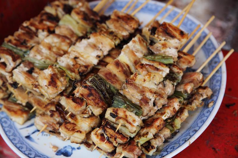 Buta yaki pork barbecue , japanese style. Buta yaki pork barbecue in close up , japanese style royalty free stock photos