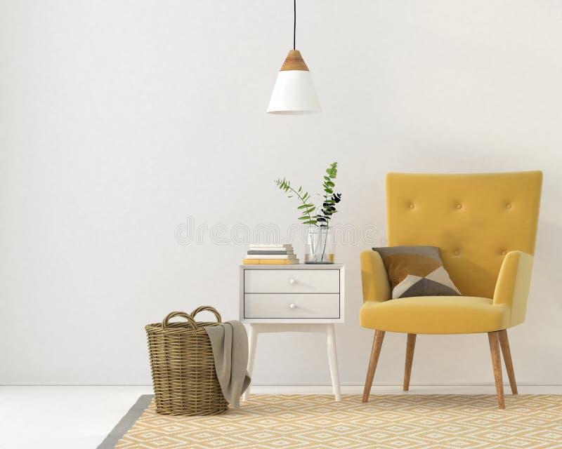 Butaca amarilla contra una pared blanca stock de ilustración
