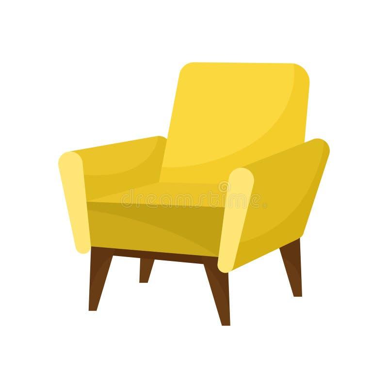 Butaca amarilla de moda con las piernas de madera Muebles cómodos Silla suave elegante para la sala de estar Diseño plano del vec libre illustration