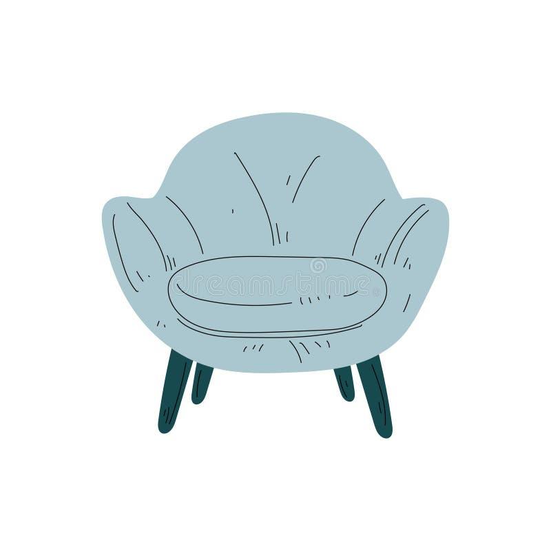 Butaca azul clara cómoda en las piernas de madera, muebles amortiguados con la tapicería, vector del elemento del diseño interior ilustración del vector