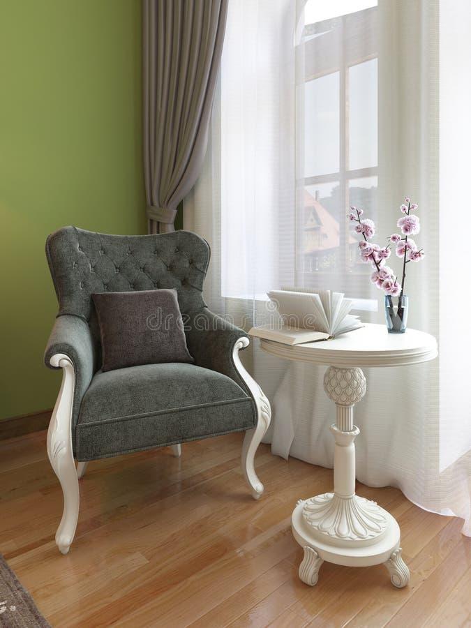 Butaca clásica con la mesa de centro blanca, estilo del este del dormitorio stock de ilustración