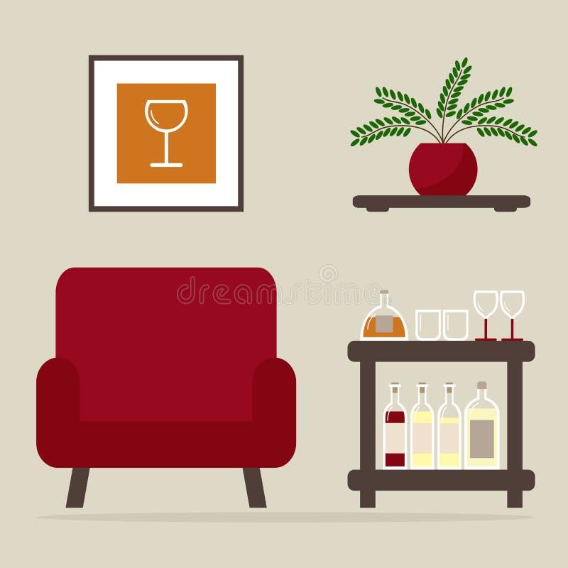Butaca con la barra casera Diseño interior de la sala de estar stock de ilustración