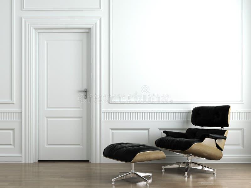 Butaca de cuero en la pared interior blanca imagen de archivo libre de regalías