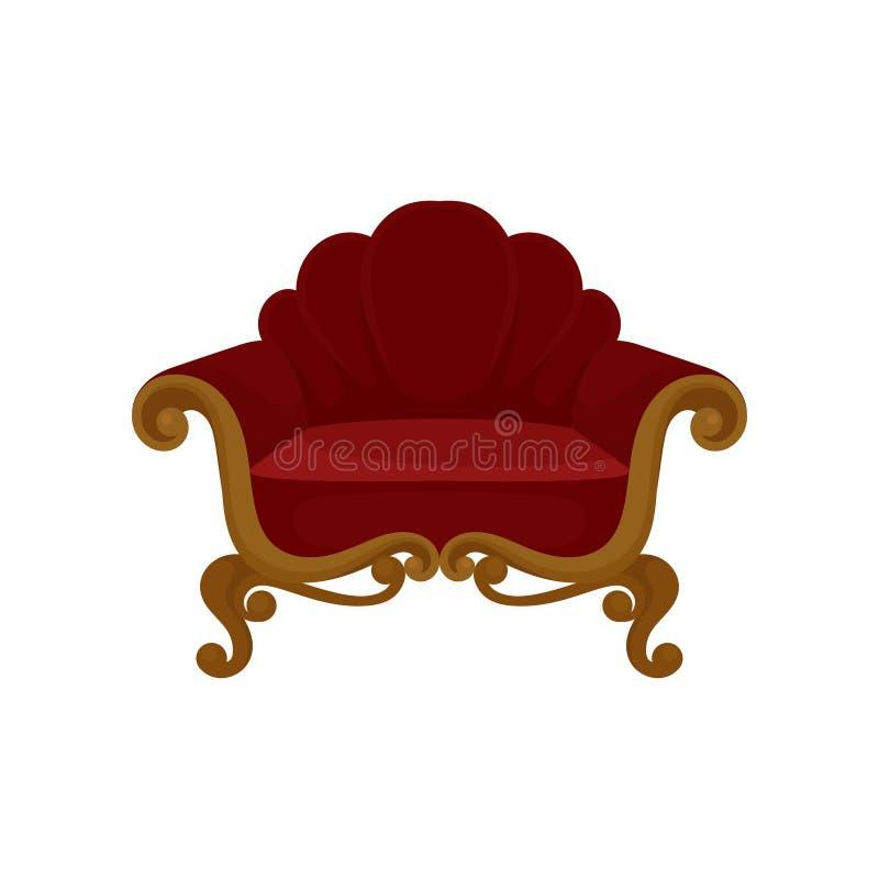 Butaca de madera antigua con tapicería roja del terciopelo Silla suave Muebles clásicos para la sala de estar Icono plano del vec libre illustration