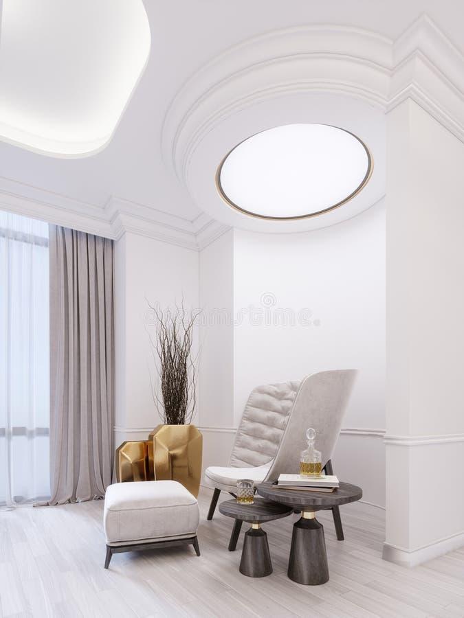Butaca de moda blanca moderna con el reposapiés, la tabla baja con la decoración y un florero de oro con las ramitas secas Interi stock de ilustración