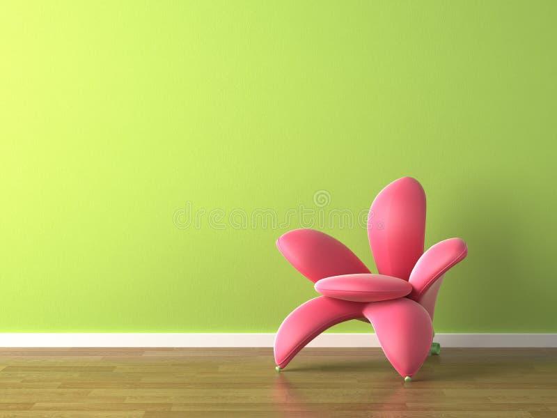 Butaca formada flor del color de rosa del diseño interior stock de ilustración