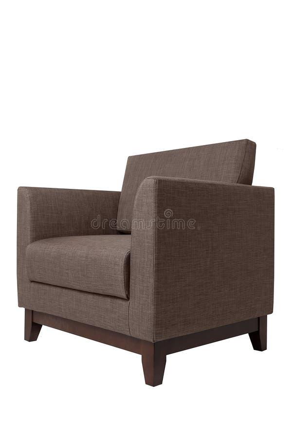 Butaca marr?n moderna de la tela aislada en el fondo blanco Muebles estrictos del estilo fotos de archivo libres de regalías