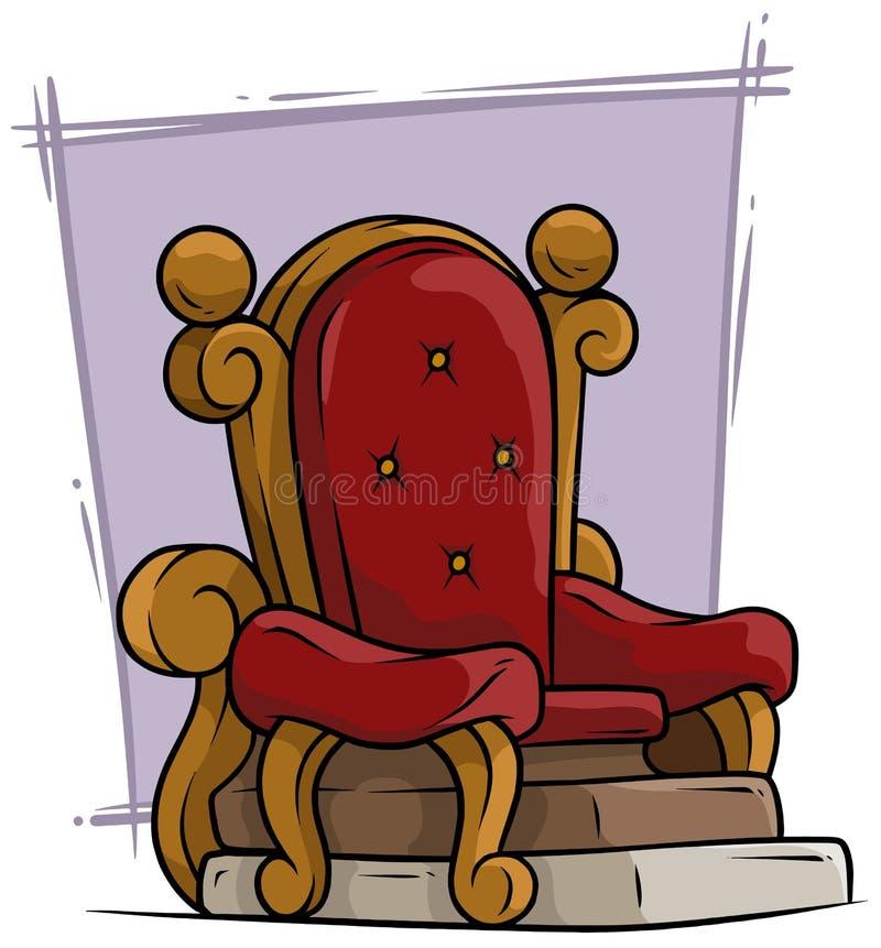 Butaca real del trono rojo de madera del vintage de la historieta libre illustration