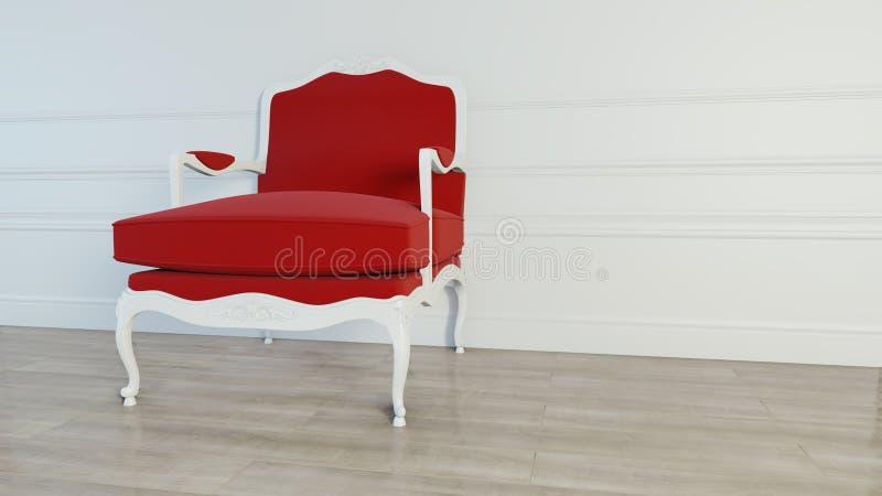 Butaca roja clásica en fondo de la pared interior representación 3d imagen de archivo libre de regalías