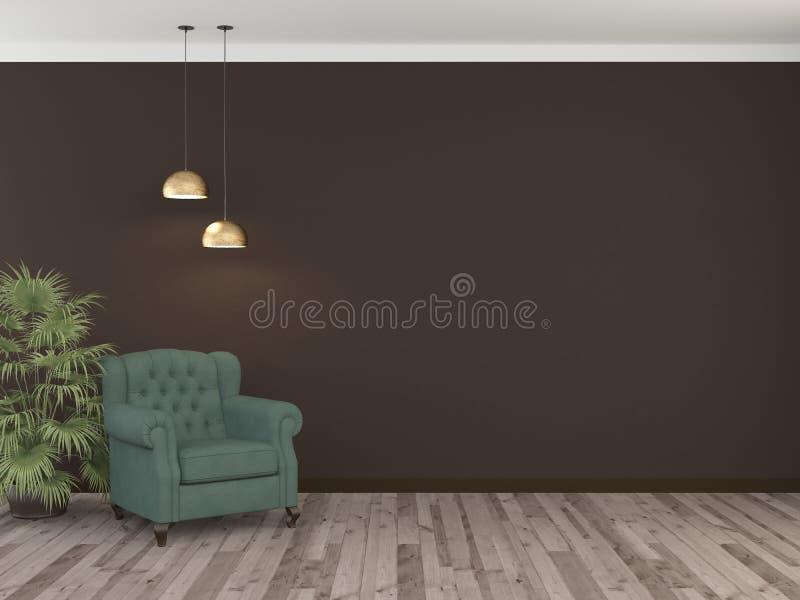 Butaca verde y pared marrón del chokolate con dos lámparas representaci?n 3d stock de ilustración