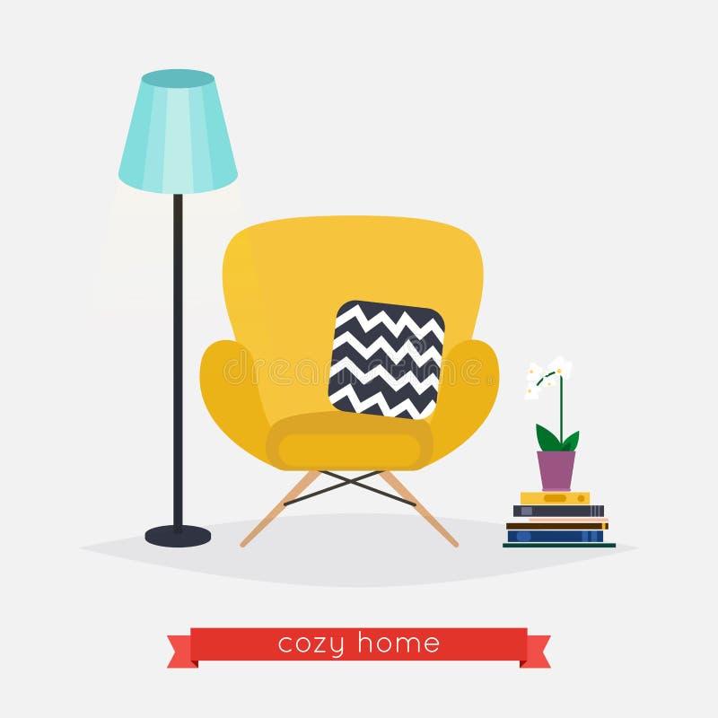 Butaca y lámpara de pie casera cómoda, libros y planta Livin stock de ilustración