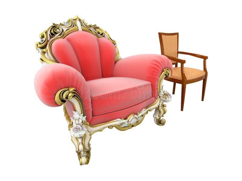 Butaca y silla del rey stock de ilustración
