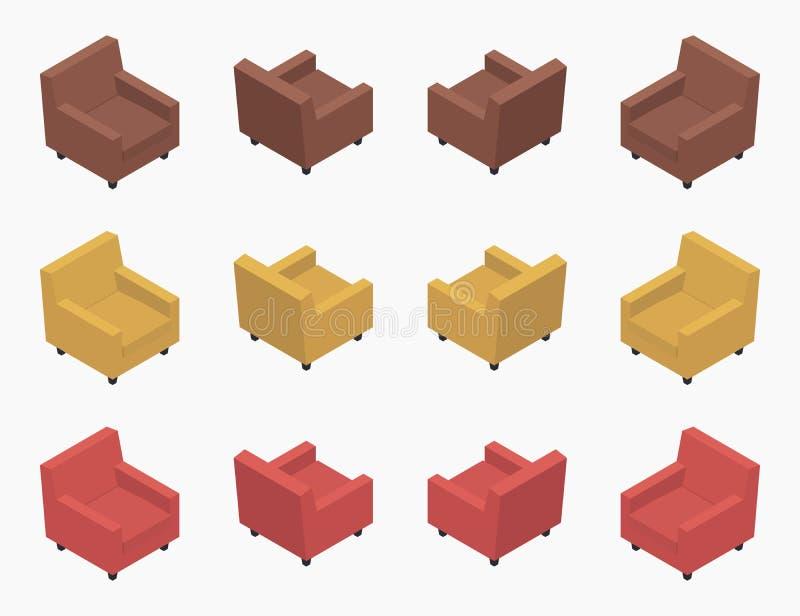 Butacas coloreadas modernas isométricas stock de ilustración