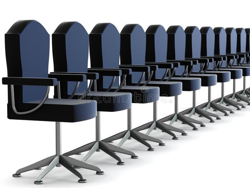 Butacas de la oficina de la fila en un fondo blanco. ilustración del vector