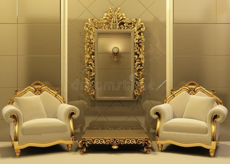 Butacas de lujo con el marco en interior del viejo estilo ilustración del vector