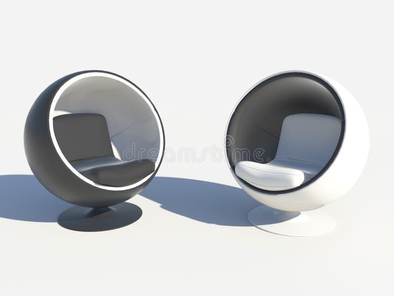 Butacas redondas con estilo blancos y negros stock de ilustración