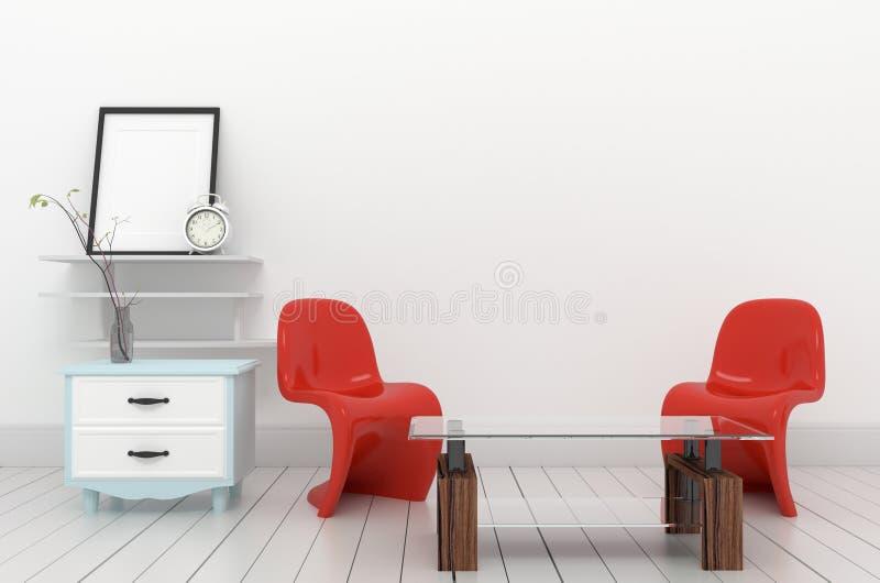 Butacas rojas y plantas del diseño interior en el fondo vacío de la pared, representación 3D ilustración del vector