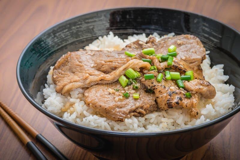 Butadon, geroosterd varkensvlees met Japanse rijst in kom stock foto
