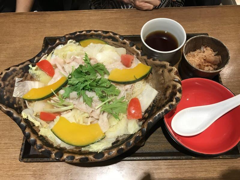 Butashabu of Japanse hete pot met varkensvlees royalty-vrije stock afbeelding