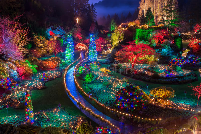 Butchart Gardens Colorful Christmas lights royalty free stock photography