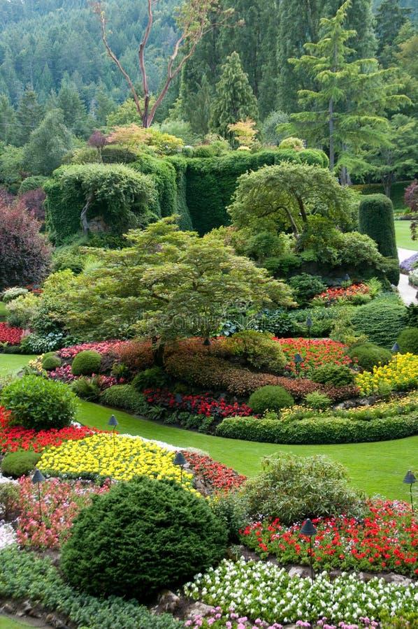 butchart ogrodowych ogródów zapadnięty widok zdjęcia royalty free