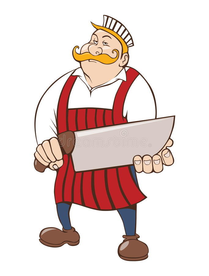 Butcher with big knife stock image